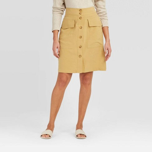 Women's High-Rise Button-Front Skirt - A New Day™ - image 1 of 3