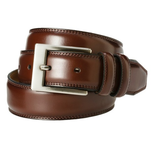 Men's Silver Buckle Belt Brown - Merona™ - image 1 of 1