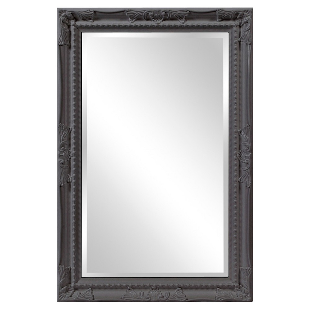 Image of Howard Elliott - Queen Ann Rectangular - Glossy Charcoal Mirror, Charcoal Heather