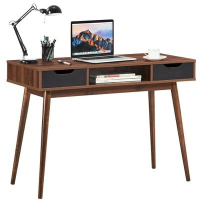 Costway Computer Desk Writing Table w/ Drawers Laptop PC Workstation Home Oak\Walnut