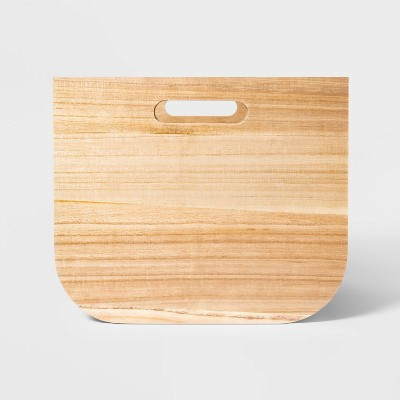 Large Paulownia Wood Bin with Fabric Sides Light Gray 11 x13  - Project 62™