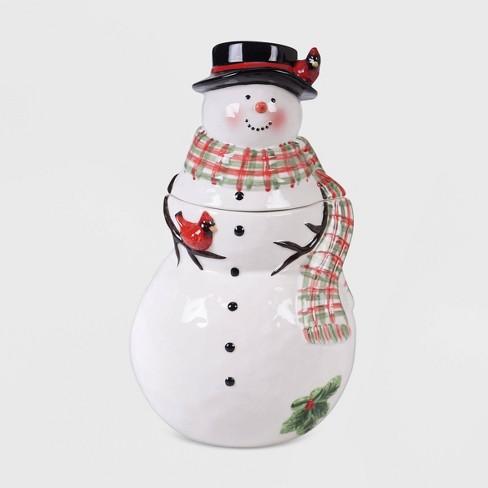 70oz Porcelain Watercolor Snowman Cookie Jar White Certified International Target