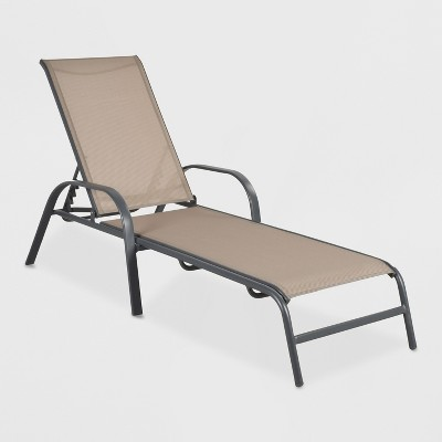 Stack Sling Patio Chaise Lounge Chair Tan Threshold Target Poolside Chairs Outdoor Furniture