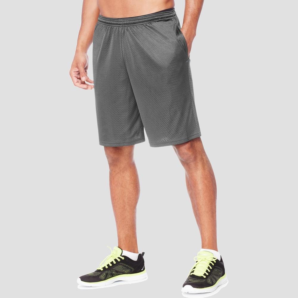 Hanes Men's 9 Sport Long Mesh Shorts - Railroad Gray Heather S