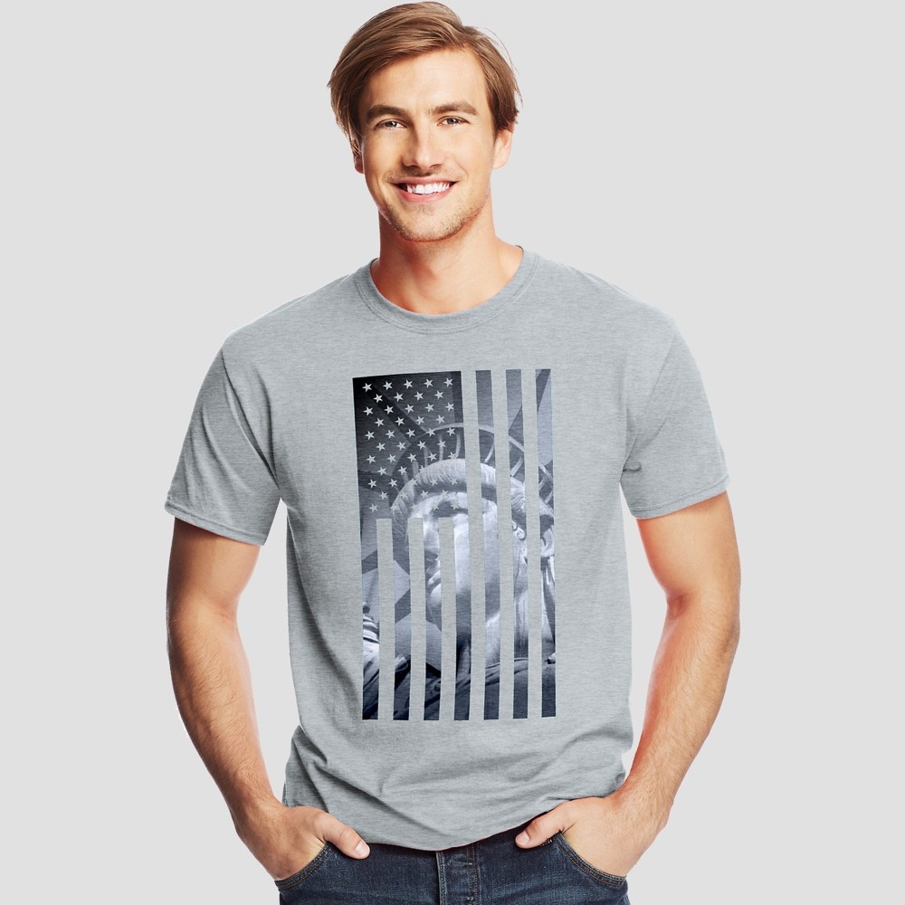 Image of petiteHanes Men's Short Sleeve Graphic T-Shirt - Gray S, Size: Small