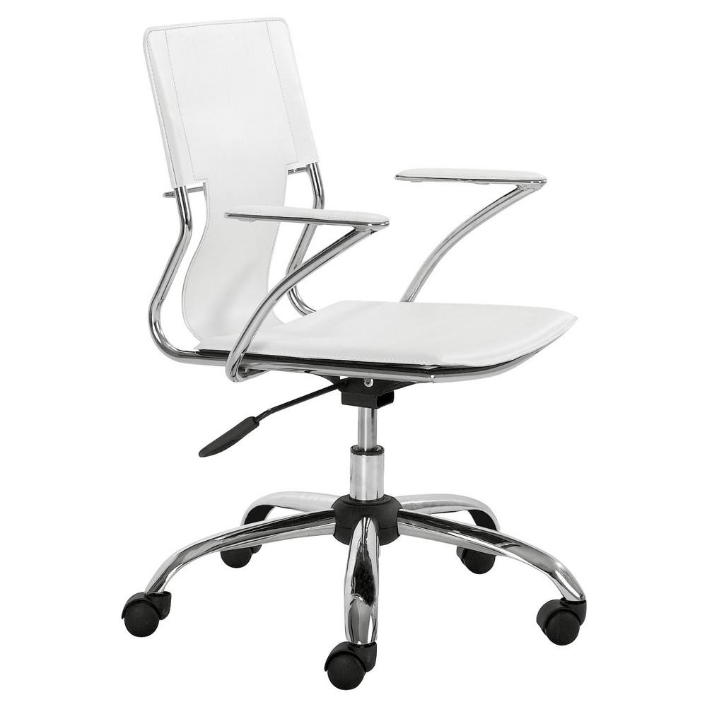 Modern Chromed Steel Adjustable Office Chair - White - ZM Home