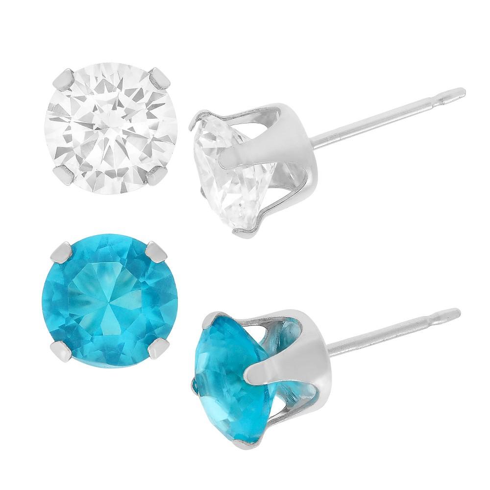 1 1/2 CT. T.W. Round-cut CZ Prong Set Stud Earrings Set in Sterling Silver - Light Blue/White, Girl's, Sky Blue