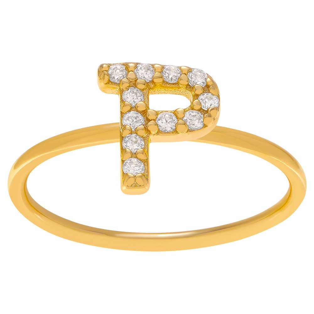 1/6 CT. T.W. Round-cut CZ Initial P Pave Set Ring in Sterling Silver - Gold, 9, Girl's, Gold Letter P