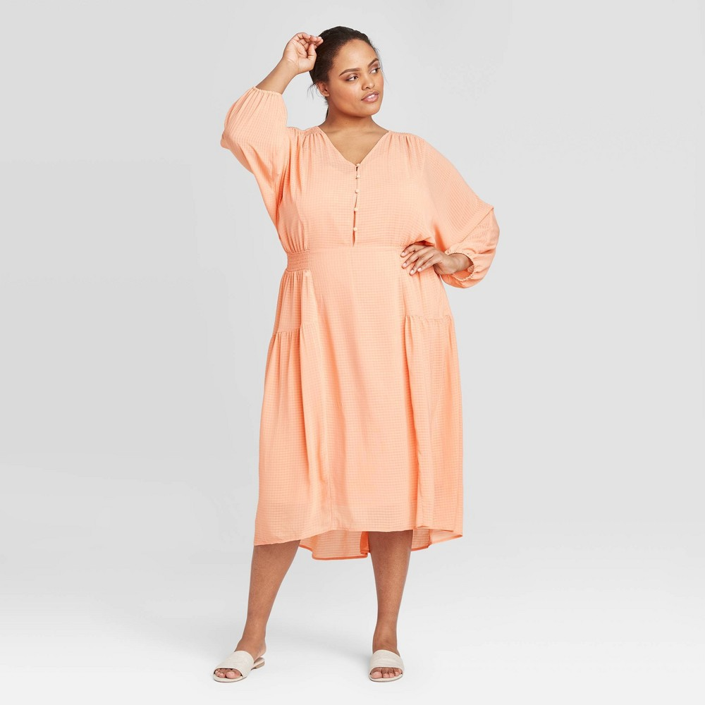 Women's Plus Size Long Sleeve Shirtdress - Prologue Coral 2X, Pink was $37.99 now $22.79 (40.0% off)