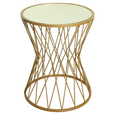 Hourglass Metal Accent Table Mirror Top - Gold - HomePop