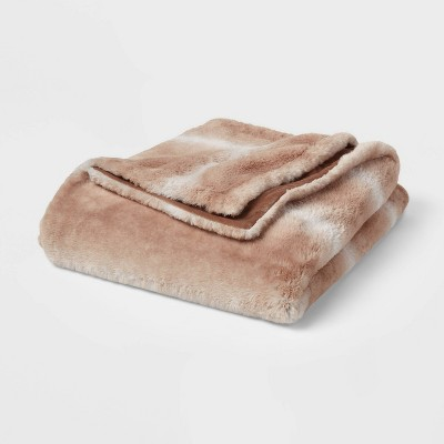 """55""""x80"""" Faux Fur Throw Blanket Brown Ombre - Threshold™"""