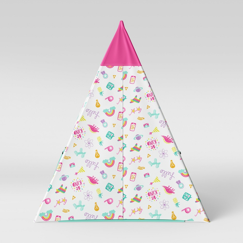 Image of Kids Teepee Doodles Pink/Aqua - Pillowfort , Pink/Blue