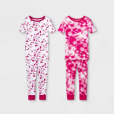 Toddler Girls' 4pc Birds Snug Fit Pajama Set - Cat & Jack™ Pink