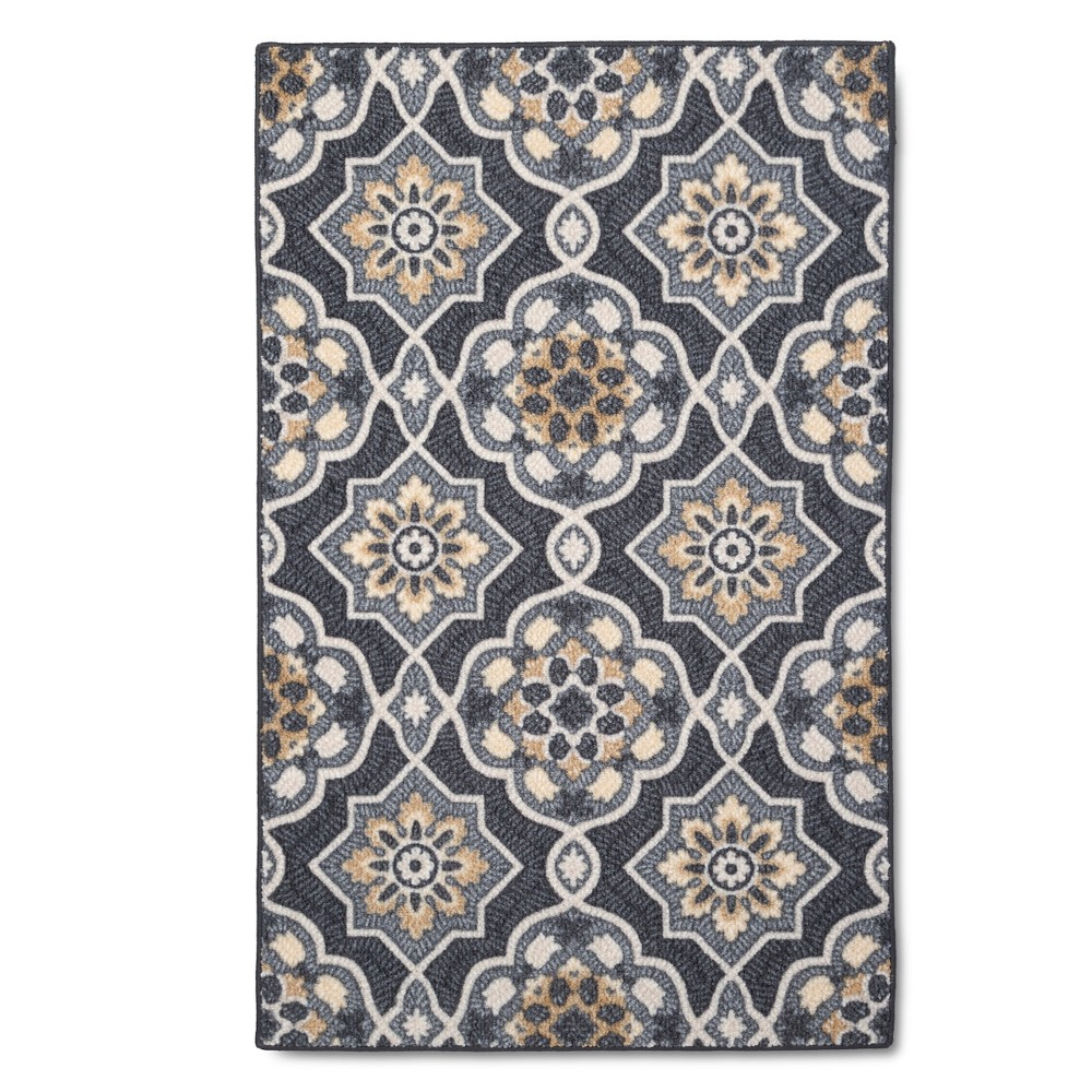 "Image of ""2'6""""X3'10""""/30""""X46"""" Medallion Hooked Accent Rug Gray - Maples"""