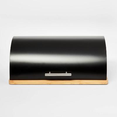 Metal Breadbox with Bamboo Base Black - Threshold™