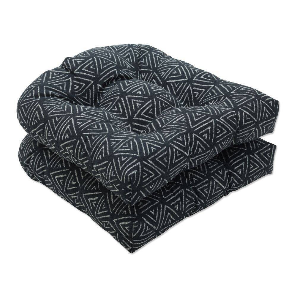 2pc Outdoor Indoor Seat Cushion Set Kuka Amazon Black Pillow Perfect
