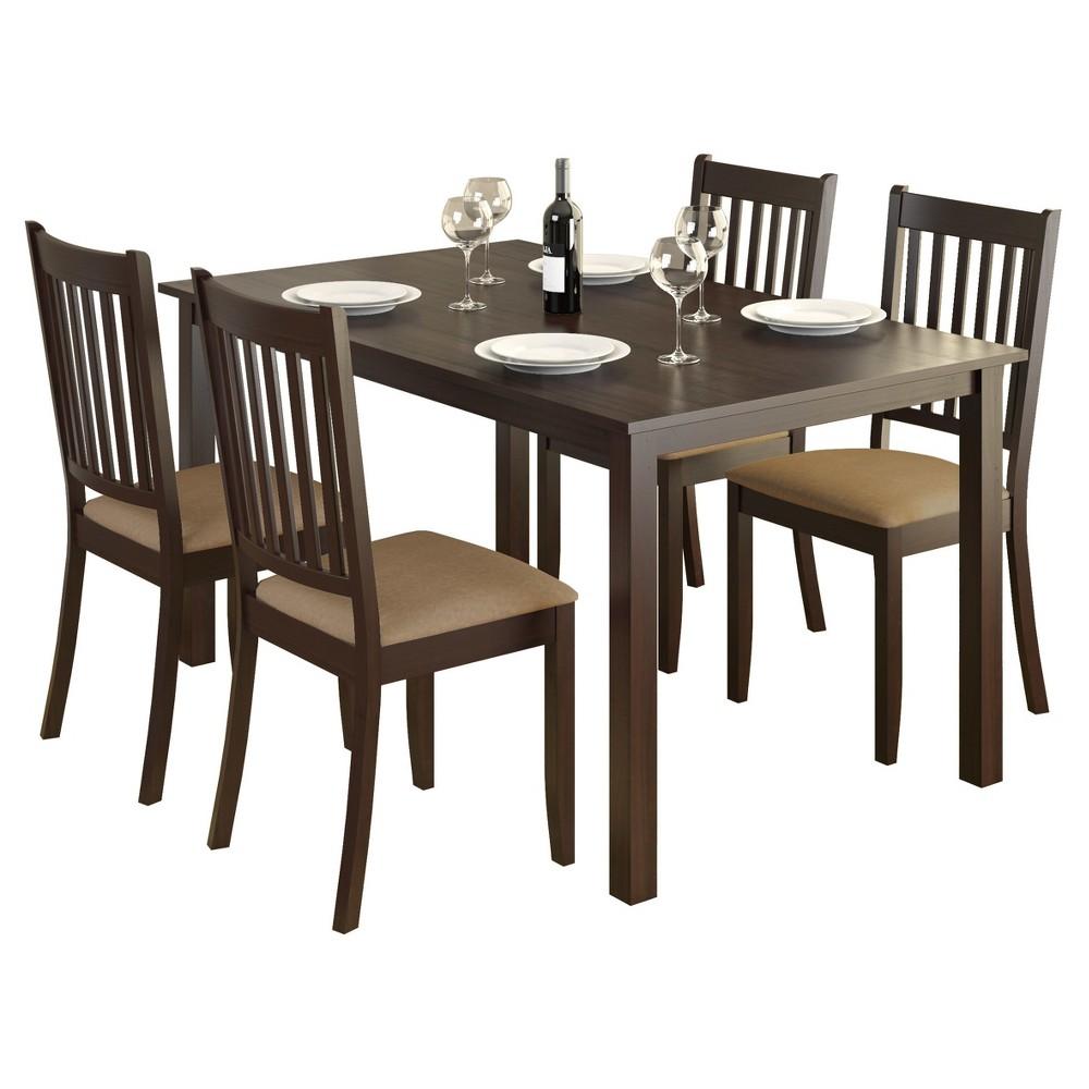 Atwood 5 Piece Dining Set - Beige - CorLiving, Dark Cappuccino