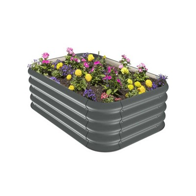 Stratco Raised Corrugated Galvanized Steel Metal Sturdy Outdoor Decor Garden Vegetable Bed Planter Box 8 Cubic Feet, 41 x 28 x 13 Inches, Slate Gray