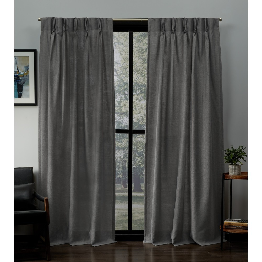 "Image of ""27""""x96"""" Loha Linen Pinch Pleat Window Curtain Panel Pair Black Pearl - Exclusive Home, Soft Black"""