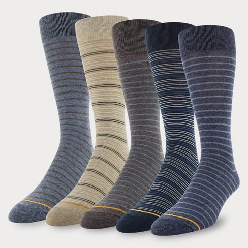 Signature Gold by GOLDTOE Men's Assorted Striped Crew Socks 5pk - Blue 6-12.5 - image 1 of 1