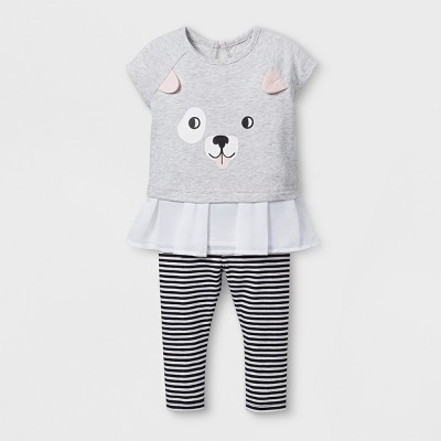 Baby Girls' 2pc Puppy Face Tunic and Leggings Set - Cat & Jack™ Black/Striped 12M
