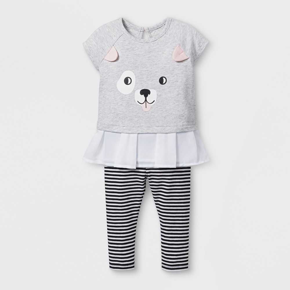 Baby Girls' 2pc Puppy Face Tunic and Leggings Set - Cat & Jack Black/Striped 3-6M