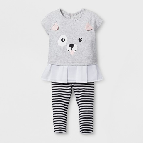 Baby Girls' 2pc Puppy Face Tunic and Leggings Set - Cat & Jack™ Black/Striped - image 1 of 2