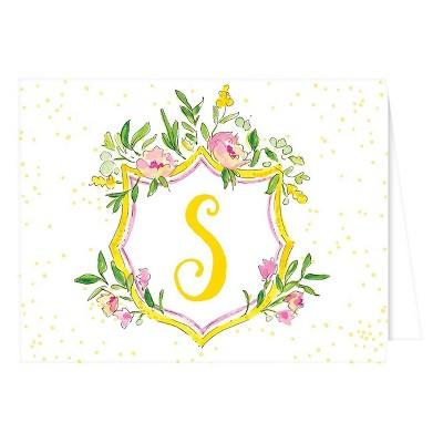 Folded Notes - Vintage Floral Crest Monogram - S