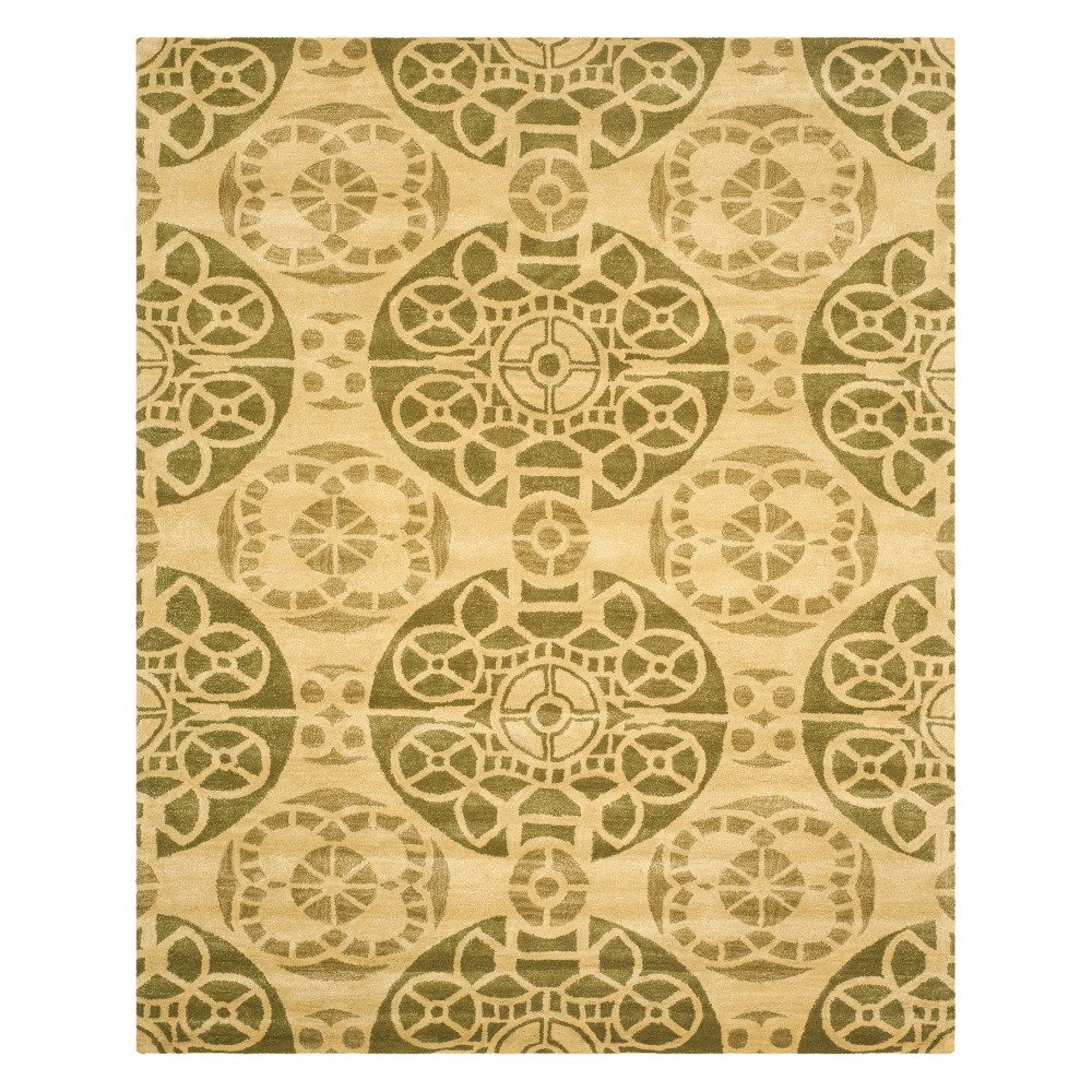 8'X10' Medallion Tufted Area Rug Honey/Green - Safavieh