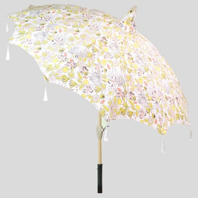 9u0027 Party Floral Pagoda Patio Umbrella White Tassels  Light Wood Pole    Opalhouse™