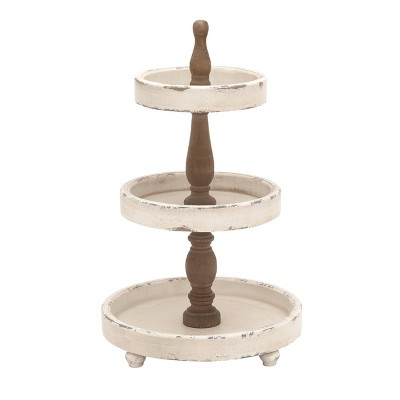 3 Tier Round Distressed Natural Wood Farmhouse Style Serving Trays - Olivia & May