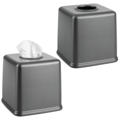mDesign Plastic Square Facial Tissue Box Cover Holder, 2 Pack