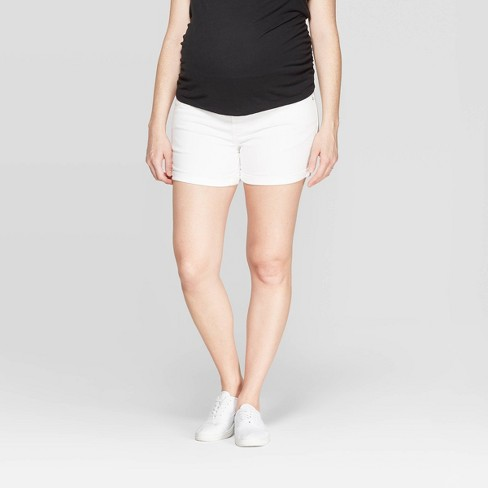 ffd1f68ff054e Maternity Crossover Panel Midi Jean Shorts - Isabel Maternity by Ingrid &  Isabel™ White