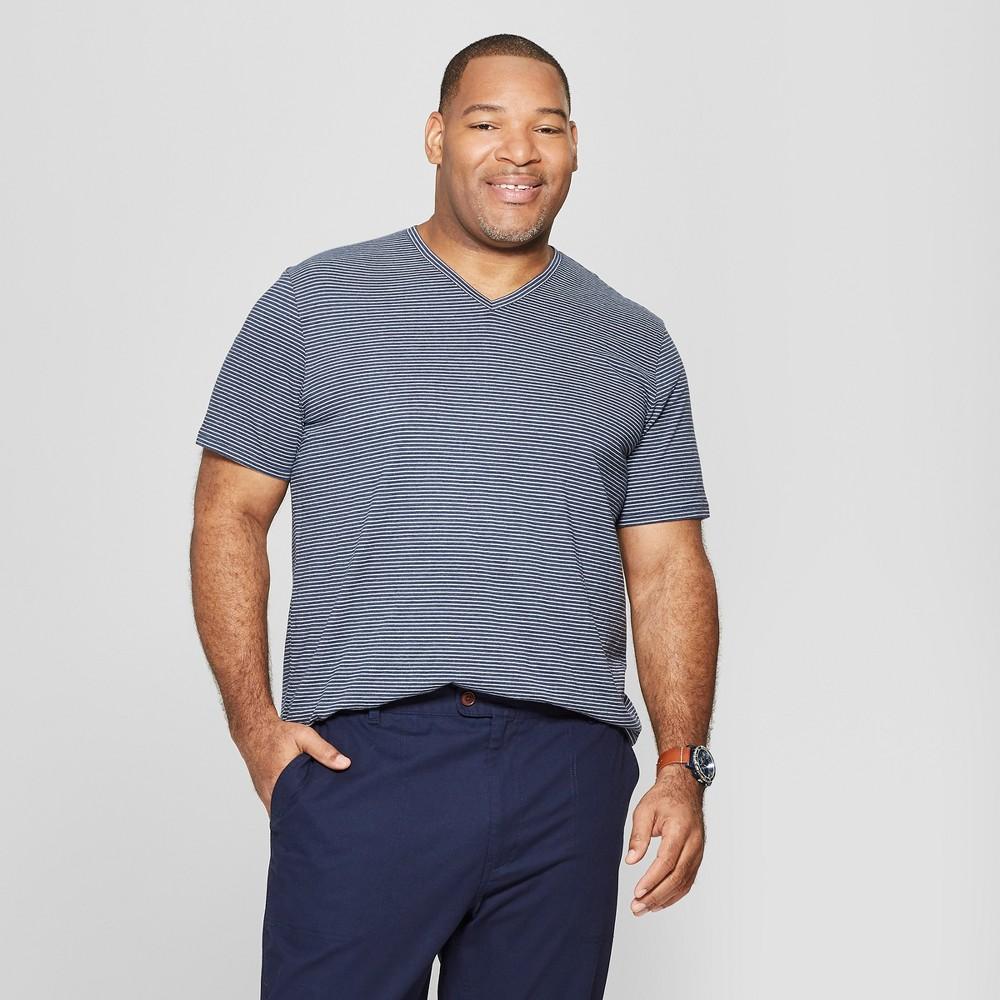 Men's Tall Striped Standard Fit Short Sleeve Novelty V-Neck T-Shirt - Goodfellow & Co Subdued Blue MT