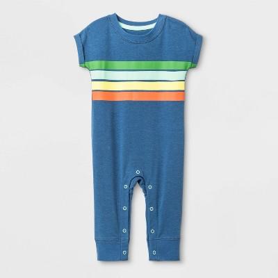 Baby Boys' Graphic Long Pants Romper - Cat & Jack™ Blue Newborn