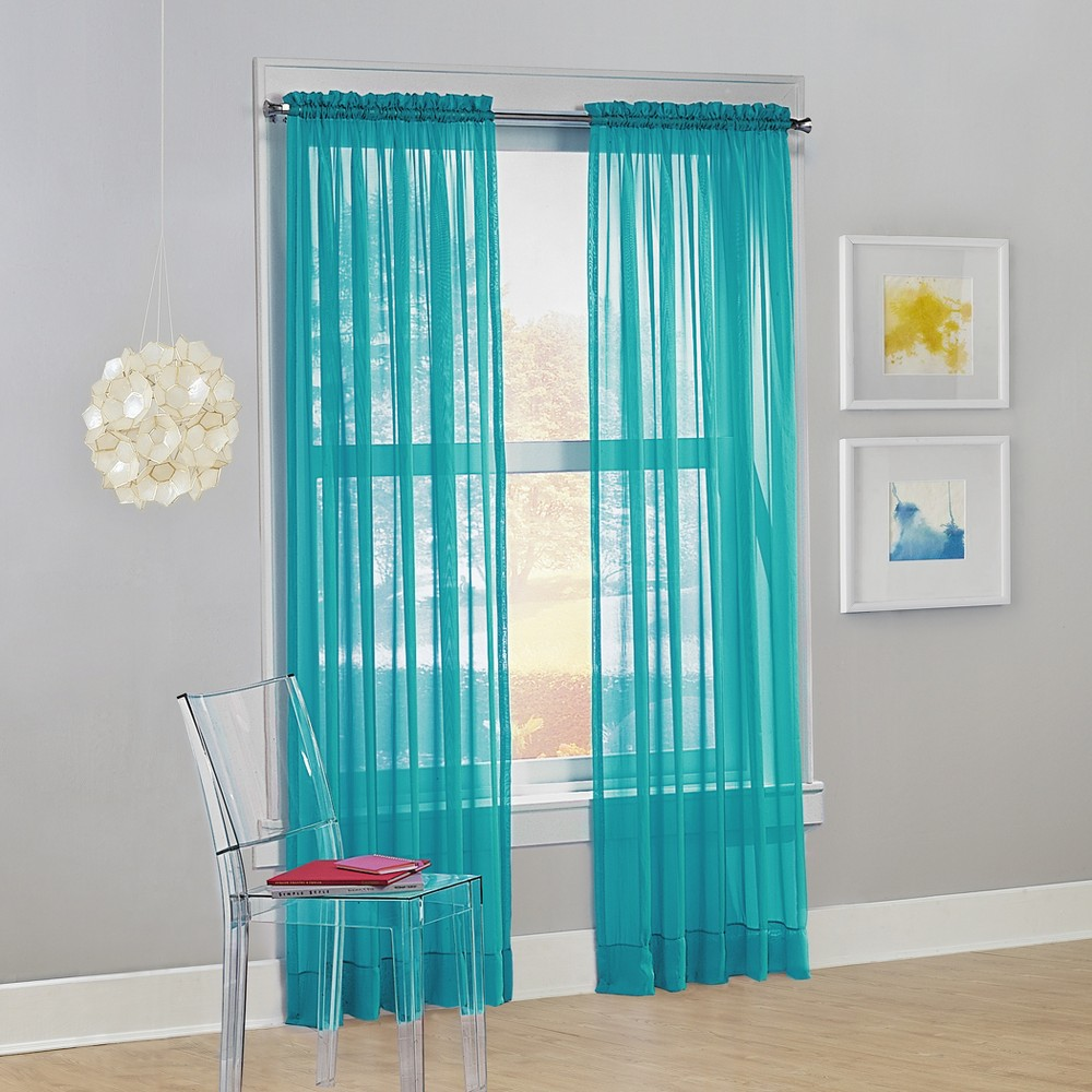 Calypso Sheer Voile Rod Pocket Curtain Panel Sky 59