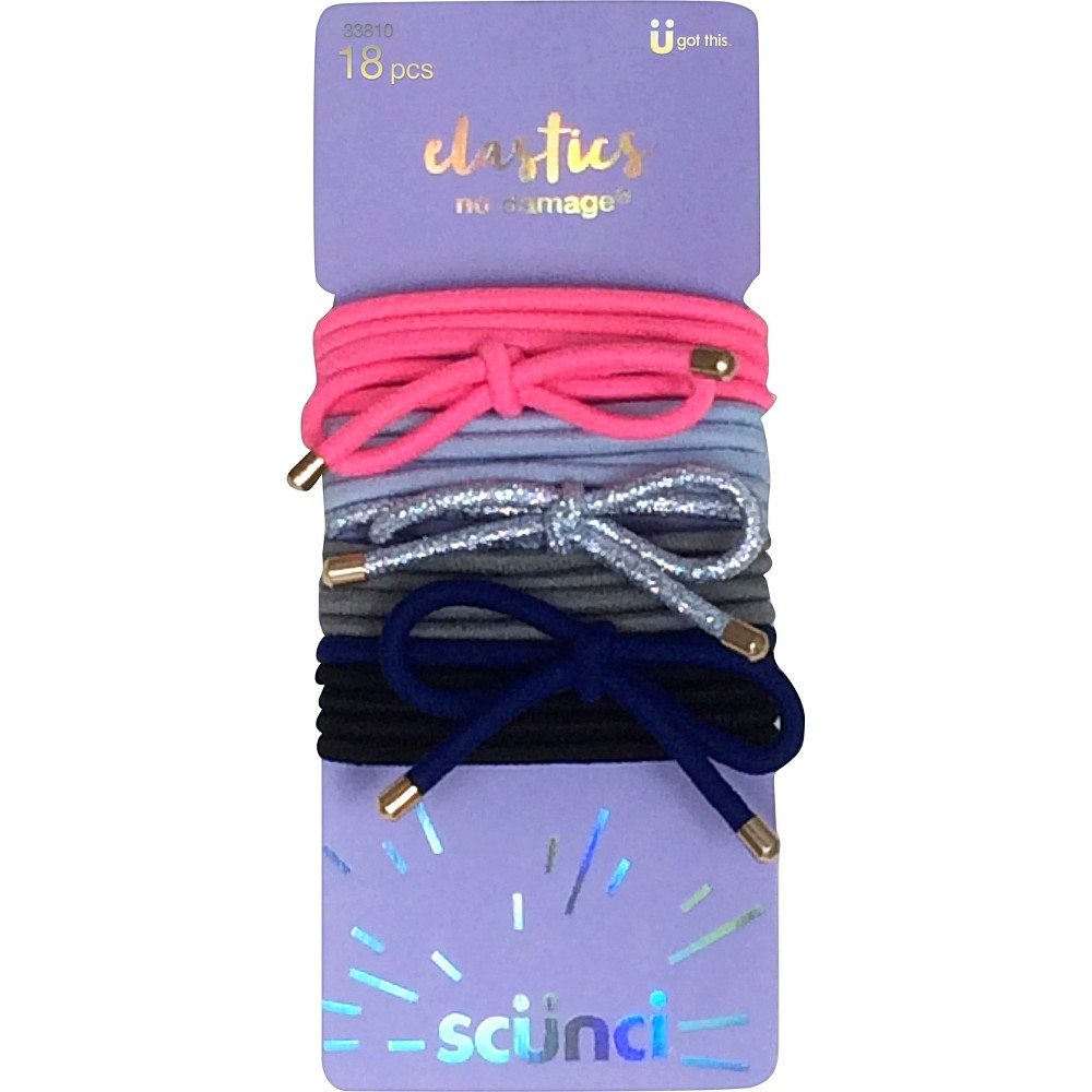 Scunci Knotted Bow Elastics - 18pk, Multi-Colored