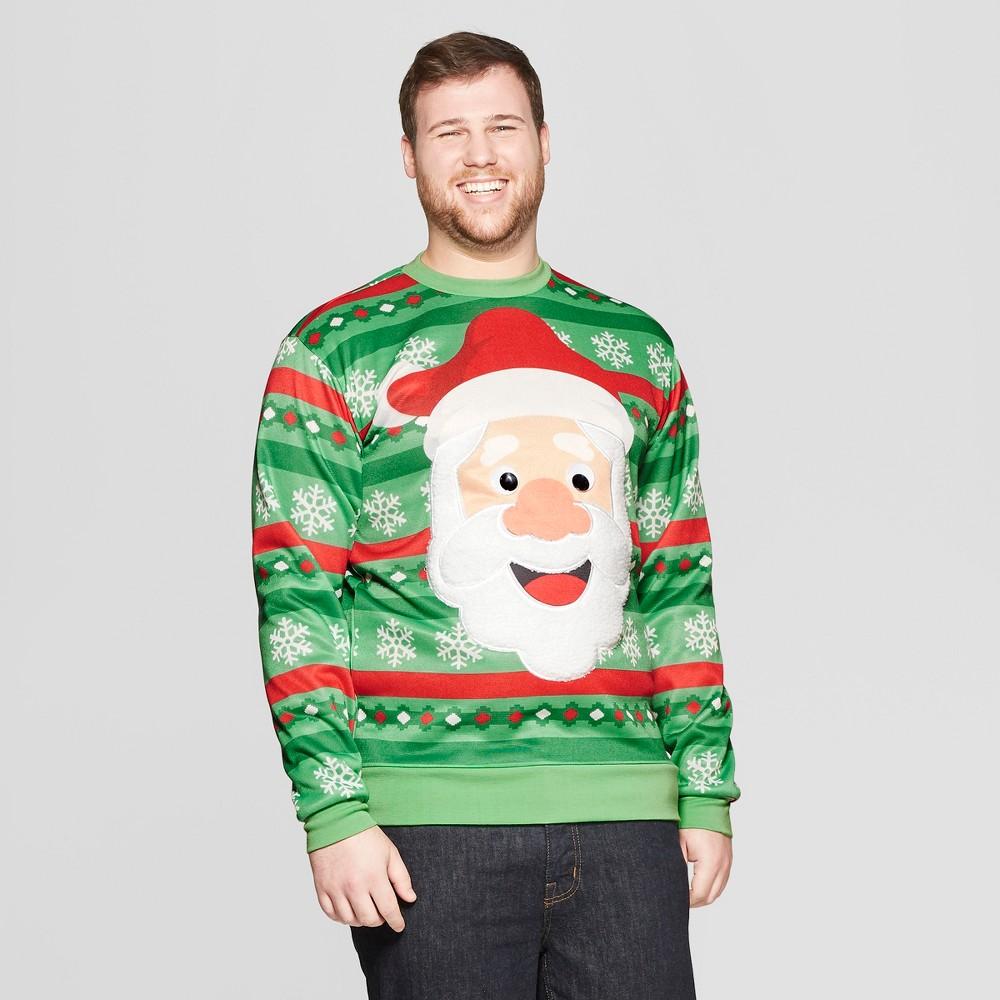 Men's Tall Googly Eye Santa Long Sleeve Sweatshirt - Green LT