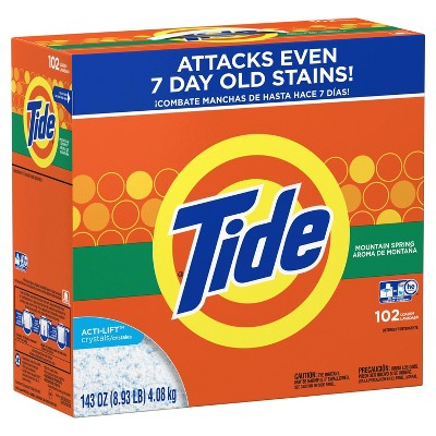 Tide Turbo Mountain Spring High Efficiency Powder Laundry Detergent - 143oz