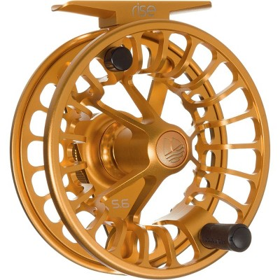 Redington Rise Mighty Powerful Solid Ambidextrous Angler 9/10 Fly Fishing Reel with Protective Nylon Carry Case, Amber