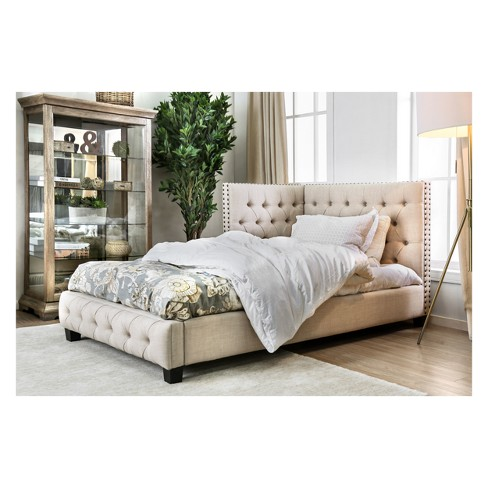 Iohomes Matteo Transitional Button Tufted Cornered Bed Beige Twin - HOMES: Inside + Out - image 1 of 4