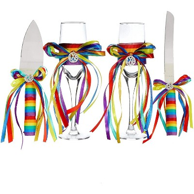 Sparkle and Bash 4 Piece Rainbow Cake Cutting Set For Wedding Supplies, White