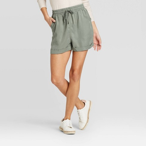 Women's Mid-Rise Tie Front Utility Shorts - Universal Thread™ - image 1 of 3