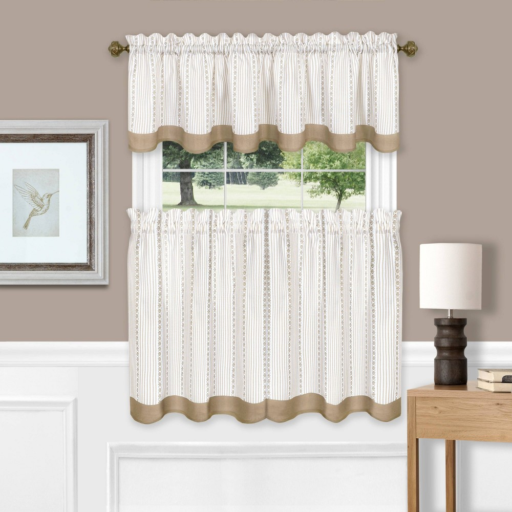 "Image of ""24""""x58"""" Westport Window Curtain Tier Pair and Valance Set Taupe - Achim, Brown"""