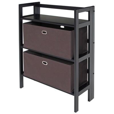 "3pc 38.54"" Torino Set Fabric Basket and Folding Bookcase Black - Winsome"