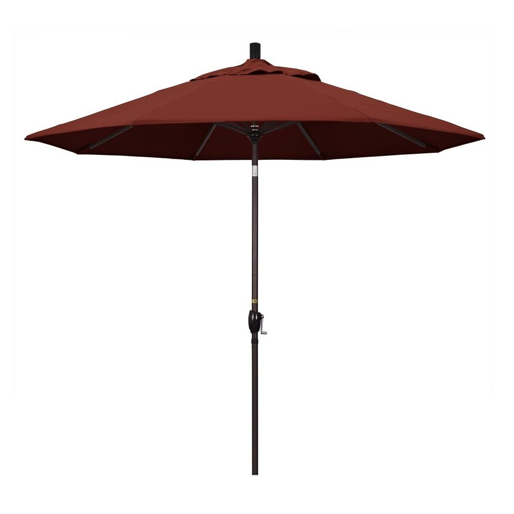 9' Aluminum Push Button Tilt Crank Patio Umbrella, Henna