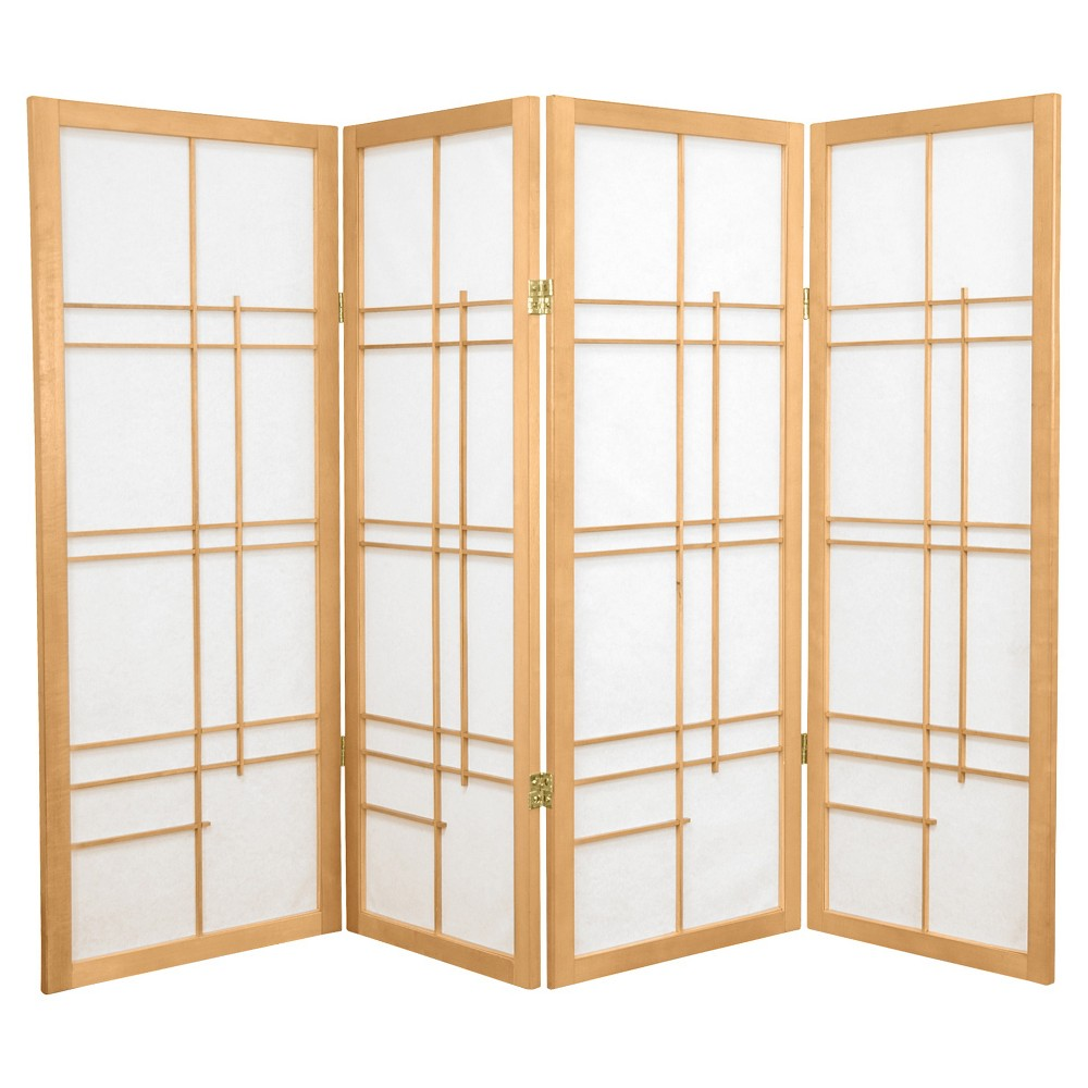Image of 4 ft. Tall Eudes Shoji Screen - Natural (4 Panels), Beige