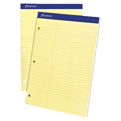 Ampad Double Sheet Pad, Law Rule, 8-1/2 x 11-3/4, Canary, Perfed, 100 Sheets
