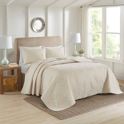 Glen Full/Queen 3pc Reversible Bedspread Set Cream