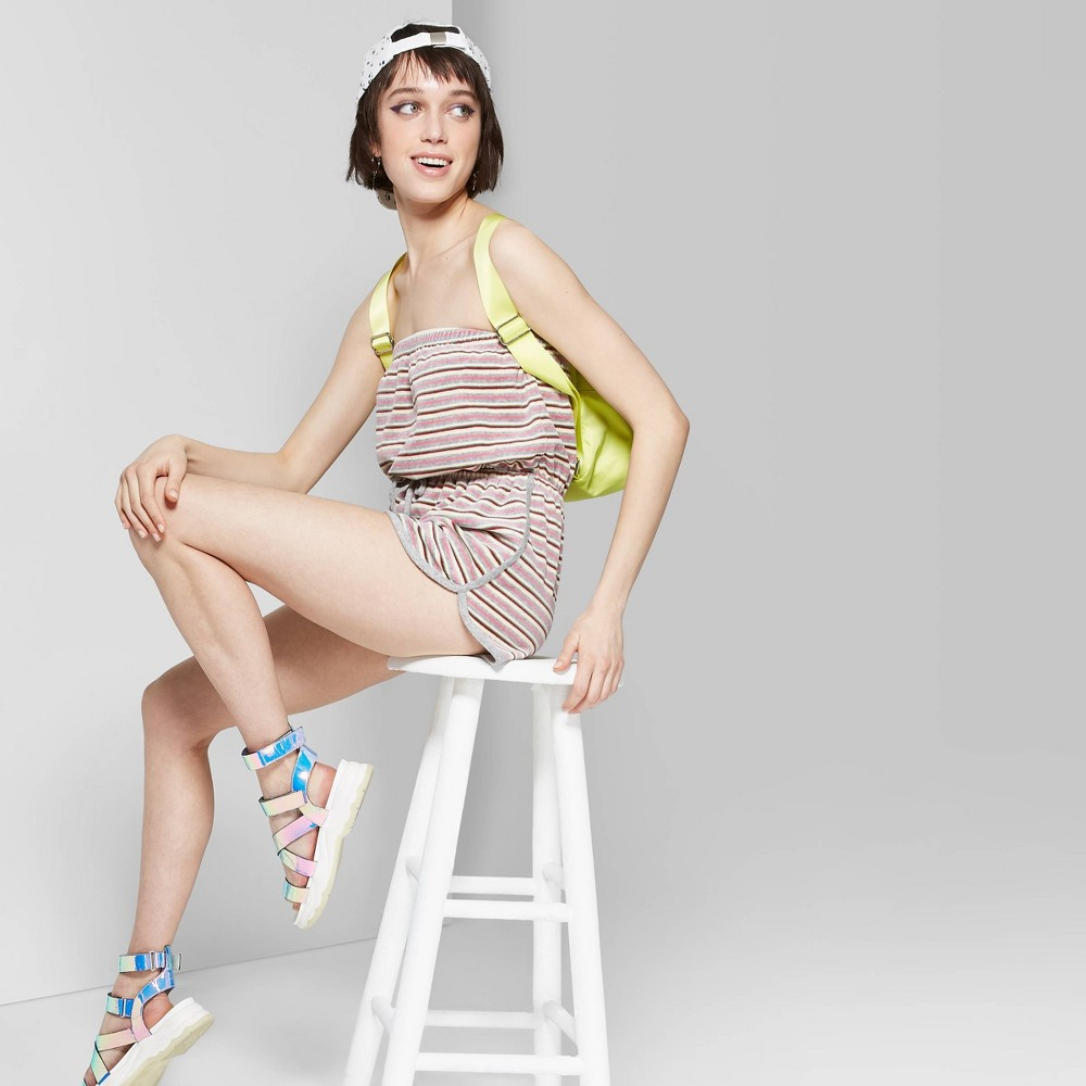 Women's Striped Strapless Tube Terry Cloth Romper - Wild Fable Heather Gray Xxl
